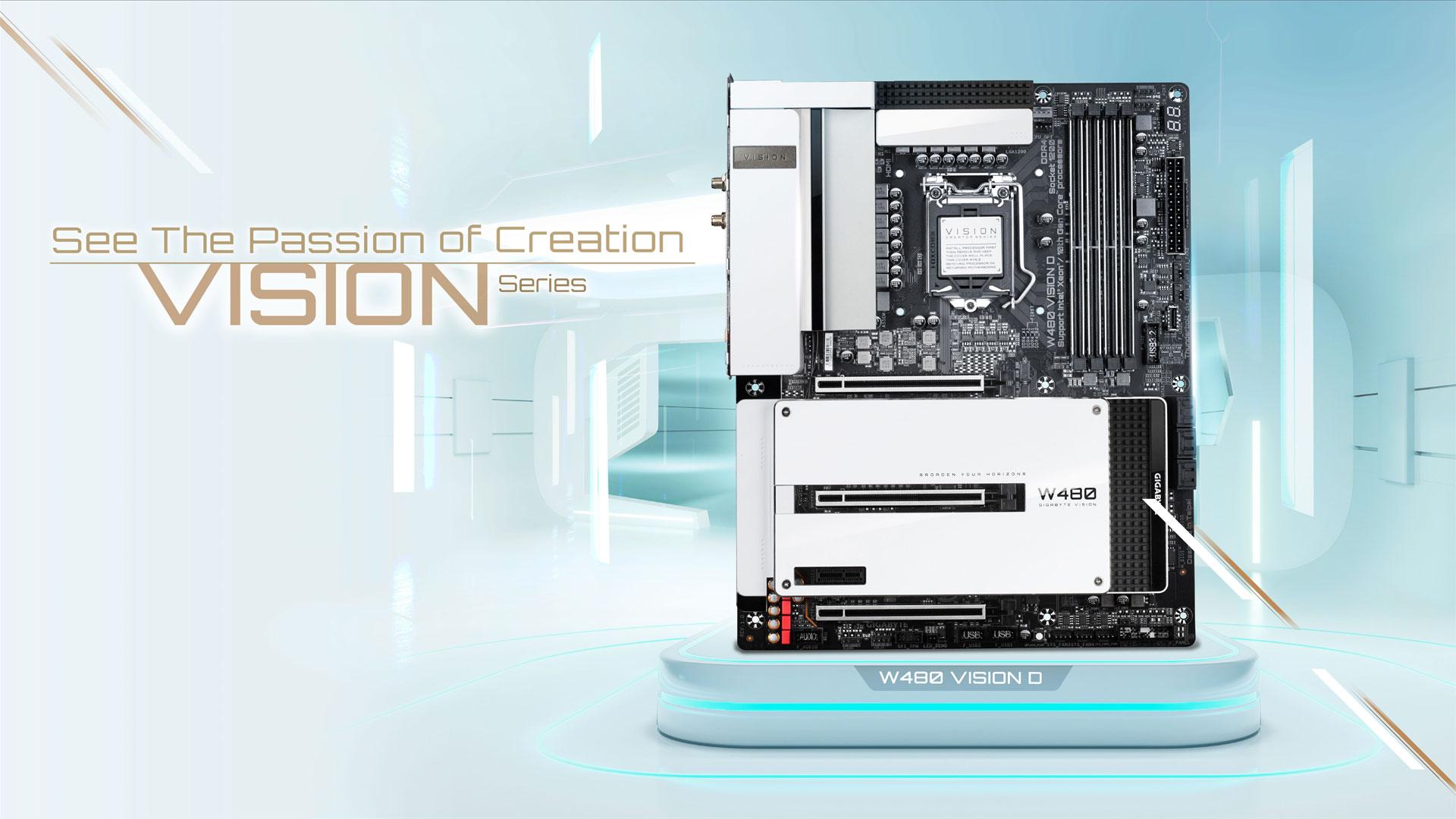 Main GIGABYTE W480 VISION cho Máy trạm – Nhà sáng tạo tương thích Intel Xeon W và Core thế hệ 10